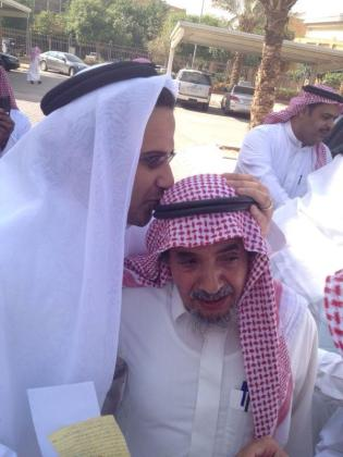 Waleed and Abdullah Al-Hamid. Taken in front of the district court at 24/11/2012 where a hearing session of Abdullah Al-Hamid & Mohammad al-Qahtani trial.
